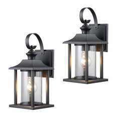 Designers Impressions - Textured Black Outdoor Patio Exterior Light Fixture, Set of 2, 23-0414 - Outdoor Wall Lights and Sconces
