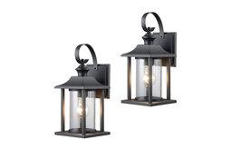 Textured Black Outdoor Patio Exterior Light Fixture, Set of 2, 23-0414