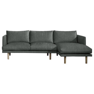 Ottilie Chaise Sofa, Pewter, 3 Seater, Right Hand Facing
