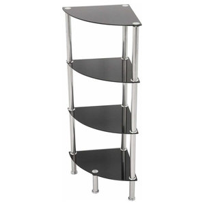 Modern Corner Display Shelving, Steel Frame, 4 Open Compartment, Tempered Glass