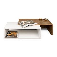 Tema Jazz Coffee Table, Pure White / Walnut