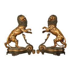 "Bronze Fireplace Andirons, 26"" Lion Themed Design"