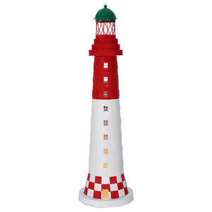 Red and White Lighthouse Table Lamp