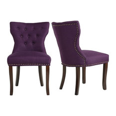 Set of 2 Dining Chairs, Solid Wood Legs With a Tufted Back and Cushioned Seat, P