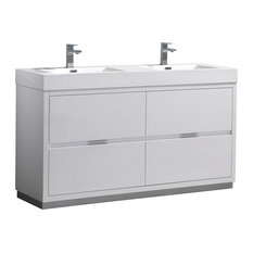 "Valencia 60"" Glossy White Free Standing Double Sink Bathroom Vanity"