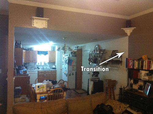 Which Is The Only Architectural Feature That Separates Rooms I Really Need Help Figuring Out How To Transition Paint Colors Any Ideas