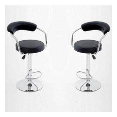 Modern Chrome Barstool With Black Leatherette Seats Set Of 2