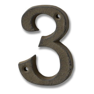 Cast Iron Number '3', Rustic Brown