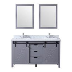 "60"" Double Vanity Dark Gray, White Carrera Marble Top, White Sinks, 24"" Mirror"