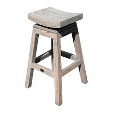 Rustic Teak Wood Vessel Barstool With Swivel Seat