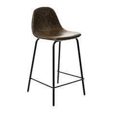 Industrial Faux Leather Bar Stool With Black Metal Legs, Light Brown
