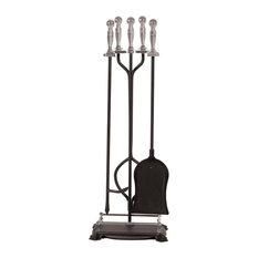 Panacea Fireplace Tool set, 5-Piece, Nickel-Black