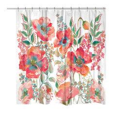 "Laural Home Bohemian Poppies Shower Curtain, 71""x74"""