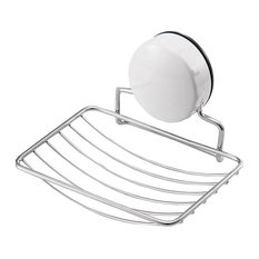Vacuum Stainless Steel Bathroom Soap Dish, Holder With Lock Suction
