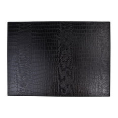 Faux Leather Crocodile Print Placemats, Set of 6, Dark Brown