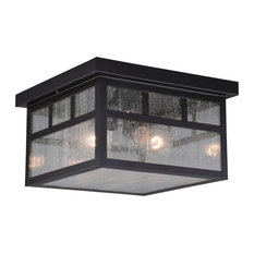 Mission Bronze Square Outdoor Flush Mount Ceiling Light Clear Glass