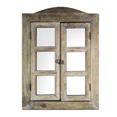 Rustic Window Shutter Wall Vanity Mirror