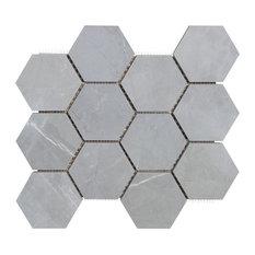 "Luxury Amani Gray 9""x11"" 12 Dot Hexagon Mosaic Rectified/Polished"