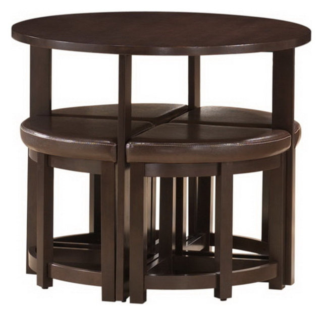 Rochester Brown Modern Bar Table Set With Nesting Stools  sc 1 st  Houzz & Rochester Brown Modern Bar Table Set With Nesting Stools ...
