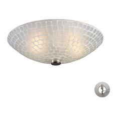EL-10139/2WHT-LA Fusion 2-Light Semi-Flush in Satin Nickel and White Mosaic Glas