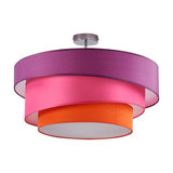 Three-coloured ceiling light Melia, violet & pink