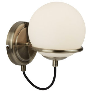 Sphere Wall Light, Antique Brass Black Braided Cable