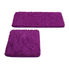 Lavish Home 2 Piece Memory Foam Shag Bath Mat, Purple
