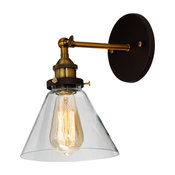 "Reed Industrial 1-Light Oil Rubbed Bronze Wall Sconce, 7"" Wide"