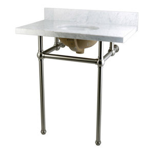 Fauceture Vanity and Sink With Brass Pedestal, Brushed Nickel