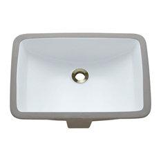 Undermount Porcelain Sink, White, No Additional Accessories