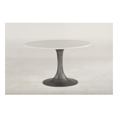 48-inch Dia. Dining Table Solid Marble Top Iron Tulip Style Recycled Cast Iron Base