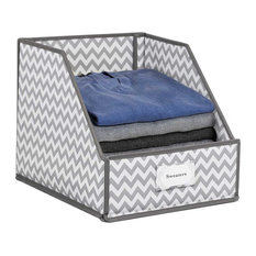 Collapsible Clothing Storage Bin with Flip-Down Front Panel, Chevron