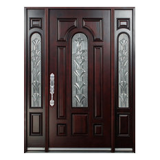 Right Hand Swinging Wood Front Entry Door With SideLights