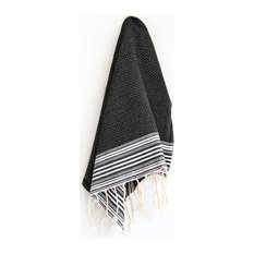 Fouta Hand Towels Honeycomb Positive/Negative Thin Stripes, Off White, Set of 2,