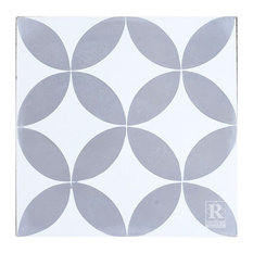 Rustico Tile and Stone - Circulos GW Gray White Cement Tile, Set of 13, 8x8 - Wall and Floor Tile