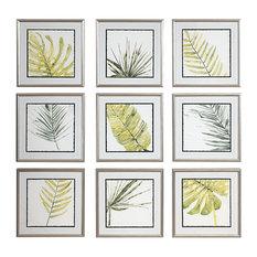 Verdant Impressions Leaf Watercolor Framed Prints, 9-Piece Set