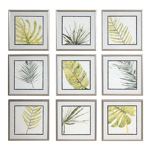 Verdant Impressions Leaf Watercolor Framed Prints, 9-Piece Set