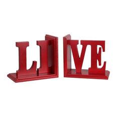 "Privilege International Wooden ""Live"" Bookends, 2-Piece Set"