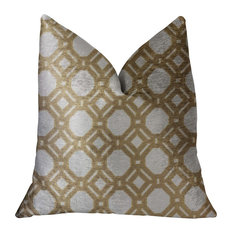 "Medallion Eclipse Beige and Gray Luxury Throw Pillow, 18""x18"""