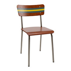 School Contemporary Dining Chair,Canton Blue and Gamboge Yellow Striped Backrest