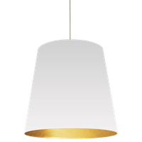 Dainolite 1-Light Oversized Drum Pendant With White, Gold Shade, Large, OD-L-692