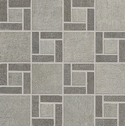 Fly Zone Fiber Porcelain Tile Series - Grigio with Graphite Mosaic - Wall And Floor Tile