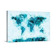 "World Map Paint Splashes Blue Wrapped Canvas Art Print, 60""x40""x1.5"""