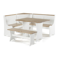 Riverbay Furniture Kerry Planked Solid Wood Dining Nook Set in Antique White
