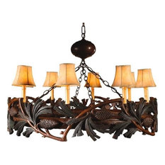 Chandelier Pine Bough Pinecones Hand-Painted