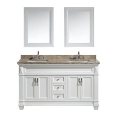 "Hudson 61"" Double Sink Vanity Set, White With Marble Top"