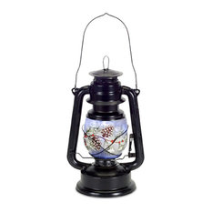 """Glass Lantern With Pine Branch and Timer, 12.25""""H"""