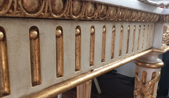 faux painted marble and gold leaf console table
