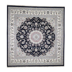 "Wool and Silk 300 Kpsi Navy Blue Nain Hand-Knotted Square Rug, 9'10""x10'3"""