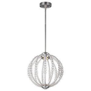 Rondure Beaded 1-Light Small LED Pendant, Satin Nickel